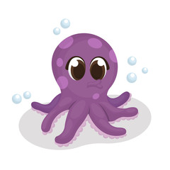 Illustration of Cute Octopus Character with Cartoon Style