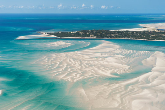 An Island in Vilankulo, Mozambique, Africa As Seen From Above, Surrounded by Sand and Water