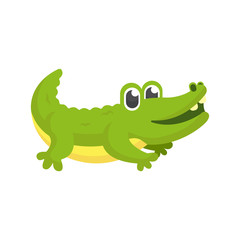 Illustration of Cute Crocodile Character with Cartoon Style