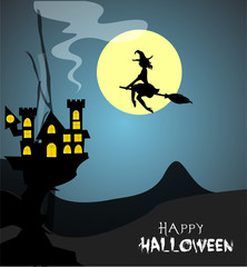 Halloween design template. Spooky landscape with castle. Happy halloween poster, fantasy silhouette concept horror story.Flyer or invitation template for Halloween party, printing, sale. Vector