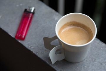 Hot coffee in disposable cup ready to dring