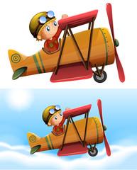 Set of pilot riding classic plane