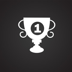 First place cup on black background icon