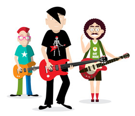 Rock People Playing Guitar. Funky Band Vector Illustration Isolated on White Background.