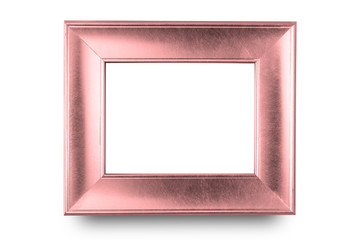 Rose gold frame isolated on white background.