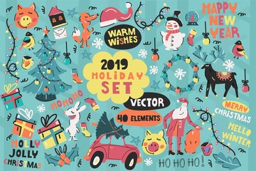 Big vector set of holiday elements. Create your own design. Merry Christmas and happy new year!