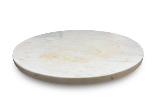 Marble plate isolated on white background.