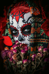flowers and catrina