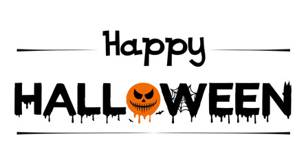 Vector poster with type of Happy Halloween with bat, spider and web isolated on white background. For banner, greeting card, party invitation, postcard, typography poster.