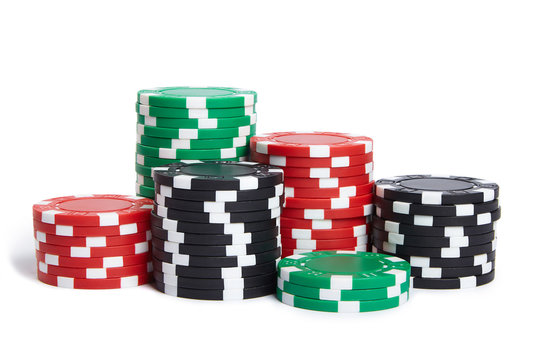 A stack of poker chips isolated on white background.