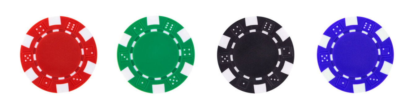 A set of casino chips isolated on white background.