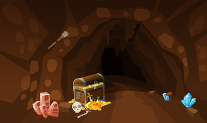 Treasure cave with chest gold coins, gems. Screen to the computer game. Background image to use games, apps, banners, graphics. Vector cartoon illustration
