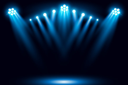 Blue stage arena lighting background with spotlight vector illustration