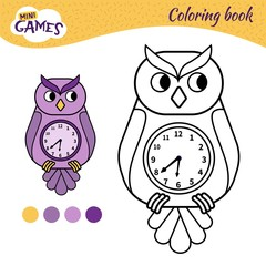 Coloring book for children. Cartoon owl-clock