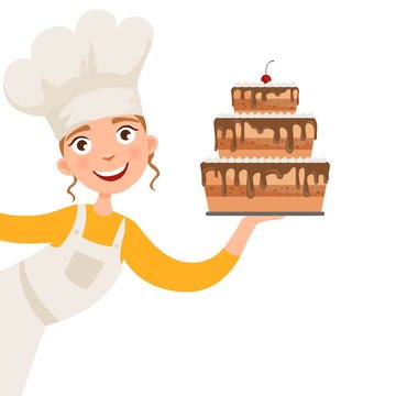 Illustration of a girl holding a cake.