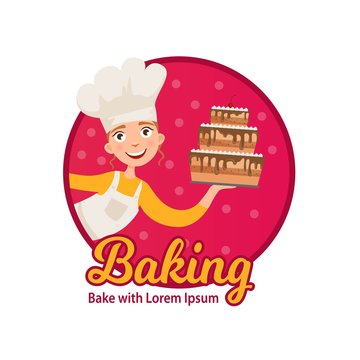 Logo of home baking. Happy girl holding a freshly baked cake.