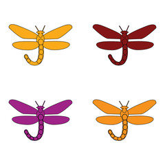 Vector illustration of dragonflies in a variety of colors