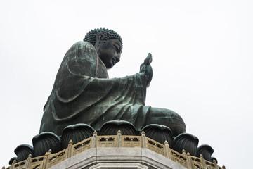 Side view of the Tian Tan Buddha, one of the worlds's tallest bronze Buddha, Lantau Island, Hong Kong
