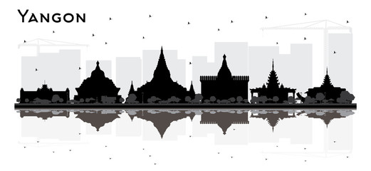 Yangon Myanmar City Skyline Silhouette with Black Buildings and Reflections.