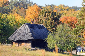 Walking on the territory of the open-air museum in Pirogovo during the autumn holiday. National architecture.