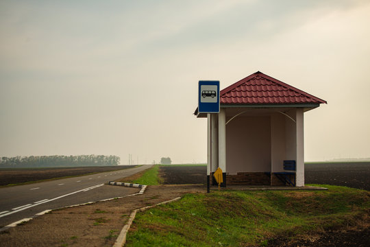 Old Bus Stop on the Road in the Countryside