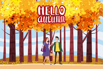 Hello autumn color illustration. Happy couple walking in park postcard design. Open air outdoor walk. Early fall landscape cartoon banner. Autumn time fire trees park. Vector