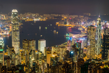 Hong Kong Skyline from Victoria Peak at night. Modern skyscrapers and City lights