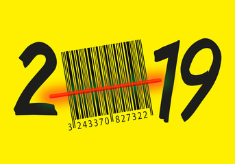 Carte de vœux 2019 symbole de la consommation et des promotions pour les achats des cadeaux de noël