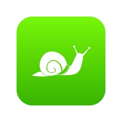 Snail icon digital green for any design isolated on white vector illustration