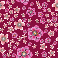 Plum and peach flowers. Crimson background. Seamless pattern.