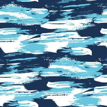 Blue water brush stroke modern seamless pattern