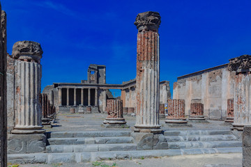 Ruins of basilica in the forum of Pompeii, Italy