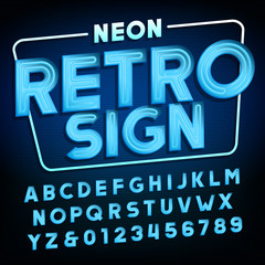 Retro sign alphabet. Blue neon tube type letters and numbers. Vintage signboard vector font.