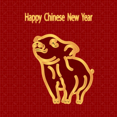 2019 Zodiac Pig. Greeting inscription with the Chinese New Year. Golden Piglet pattern. illustrator