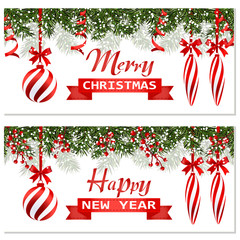 New Year Christmas. Two flyer, business cards, cards. Striped balls and candles. Green branches of fir trees in the snow. Ribbon with a congratulatory inscription. illustration