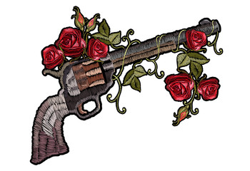 Embroidery guns and flowers roses. Template for clothes, textiles, t-shirt design. Symbol of romanticism and crime