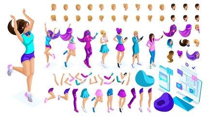 Isometrics Create your style girl, teenager. Set creative hairstyles, gestures of hands and feet, different emotions for creating a unique image of the character