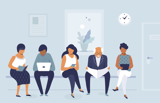 Group of people waiting for job interview in office, queue of men and women, flat character design, vector illustration