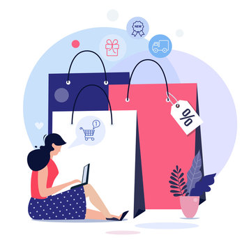Online shopping concept illustration, web templates, flat design vector poster