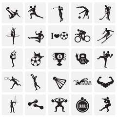 Sport disciplines set on squares background icons