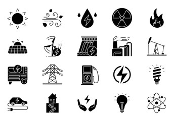 Electric energy glyph icons set