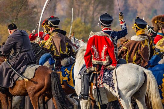 Maloyaroslavets, Russia - October 14, 2018: Historical reconstruction of the Maloyaroslavets battle of 1812