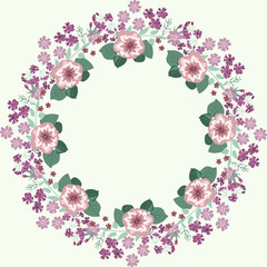 Floral round frames of maiden pink and petunias. Vector greeting card template. Design artwork for the poster, tee shirt, pillow, home decor. Summer flowers with green leaves.