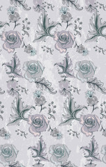Vintage damask pattern Vector. Old 30s style decoration textures