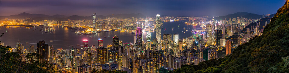 Hong Kong Skyline at night Panorama