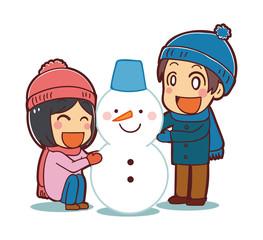雪だるまをつくる子供たちのイラスト