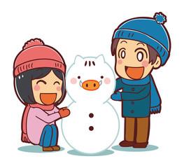 イノシシ型の雪だるまをつくる子供たちのイラスト