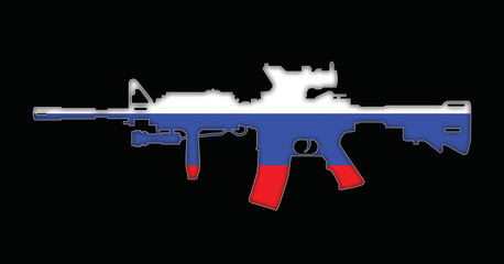 Rifle with Russian flag painted on, isolated on black background