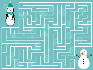 winter educational maze game for kids help the penguin find the right way to the