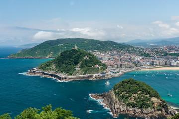 Panoramic view of San Sebastian, Spain in summer